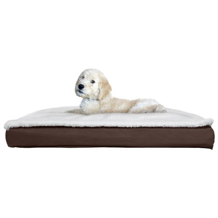 FurHaven Pet Dog Bed | Convertible Sherpa Panel Outdoor Pillow Pet Bed for Dogs & Cats, Espresso, (Dot Pillow)