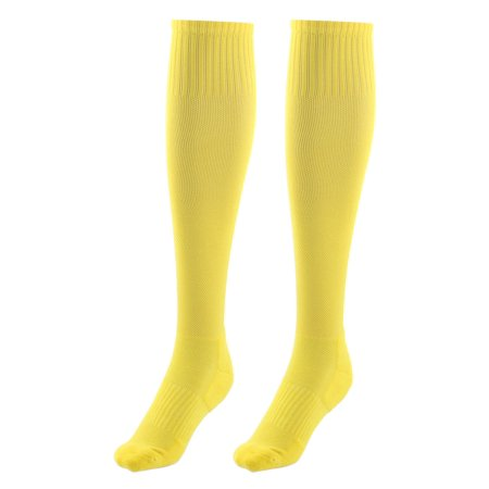 Adult Cotton Blends Knee High Style Rugby Soccer Football Long Socks Yellow Pair