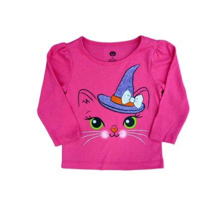 Infant Toddler Girls Pink Glittery Cat Halloween Shirt Long Sleeved T-Shirt](Girl Cat Halloween Names)