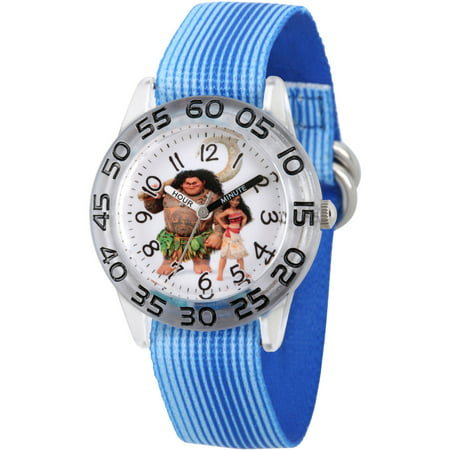 Moana and Maui Boys' Clear Plastic Time Teacher Watch, Blue Stripe Stretchy Nylon Strap