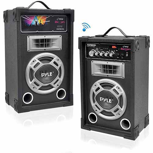 Pyle PSUFM837BT Dual 800W Disco Jam Powered 2-Way PA Bluetooth Speaker System with USB/SD Card Readers, FM Radio and 3.5 mm AUX Input