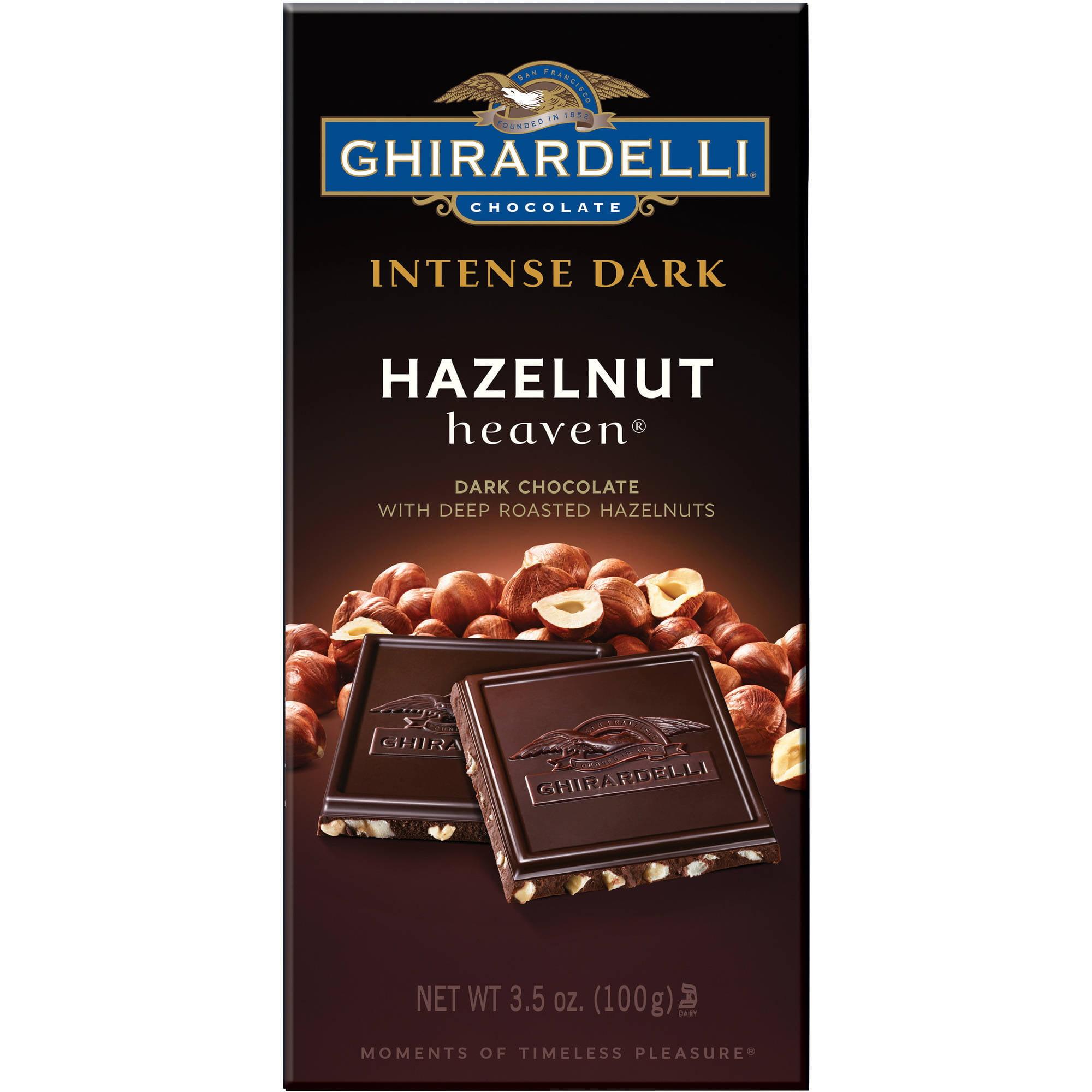 (3 Pack) Ghirardelli Chocolate Intense Dark Bar, Hazelnut Heaven, 3.5 Ounce Bars