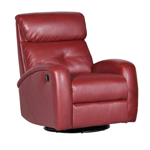 Shermag Bonded Leather Recliner with Push-Button Recline and Swivel, Black