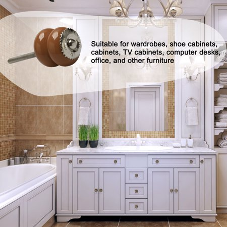 Ceramic Knobs Vintage Drawer Pull Handle Cupboard Wardrobe Cabinet 4pcs Brown - image 6 of 7