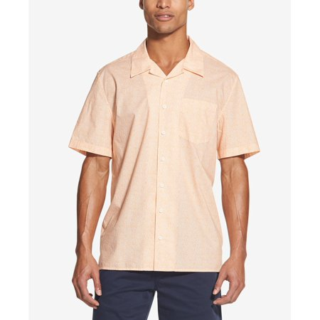 Men Shirt Medium Button Down Star Print Short Sleeve M