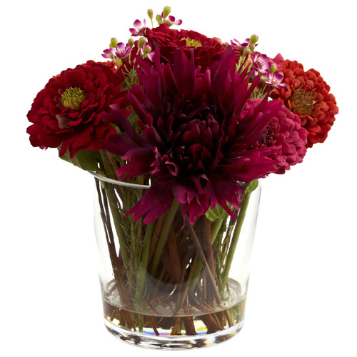 Nearly Natural Mixed Zinnia Floral Arrangement with Decorative Glass Vase