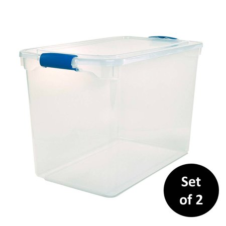 Homz 112 Quart Plastic Storage Latching Container, Clear/Blue, Set of 2