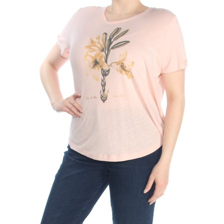 RALPH LAUREN Womens Pink Graphic Short Sleeve Crew Neck T-Shirt Top  Size: XL
