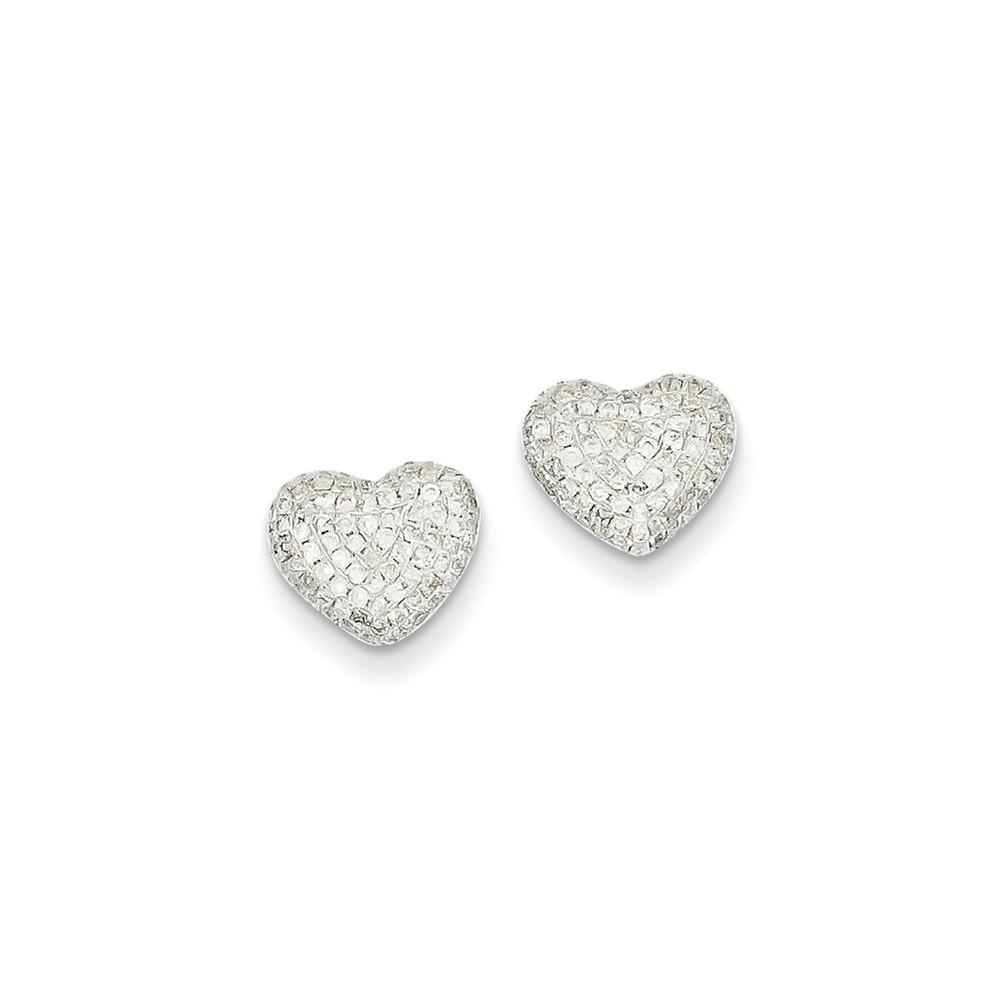 14k White Gold H-I SI2 Quality Diamond Heart Post Earrings. Carat Wt- 0.47ct (10MM Long x 8MM Wide)