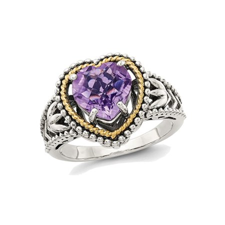 2.00 Carat (ctw) Natural Amethyst Heart Promise Ring in Sterling Silver with 14K Gold (14k Gold Amethyst Heart Ring)