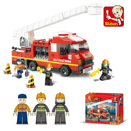 Lightahead Firemen Building Blocks with Fire Truck & Fire fighters, Fire Engine Toy Building Blocks Set Educational DIY for your Kids (270 Pcs)