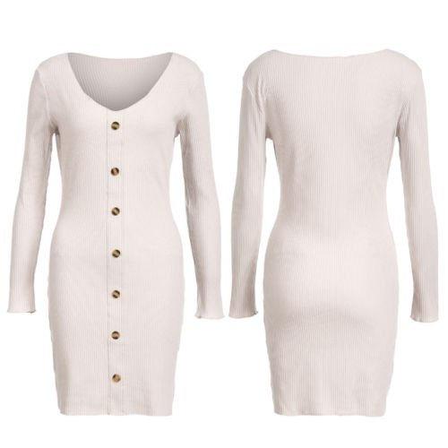 a7f3b9f1e6 Emmababy - Women Sexy V Neck Knitted Bodycon Dress Sweater Ladies Evening  Party Mini Dress - Walmart.com
