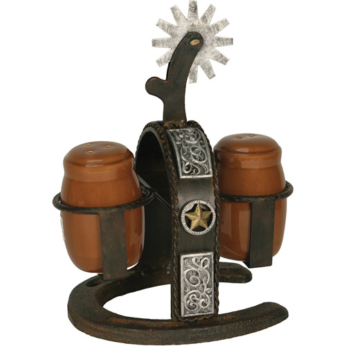 Rivers Edge Products Cast Iron Spur Salt and Pepper Shaker Set