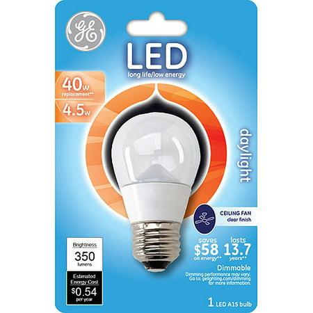 Ge Led 4 5w Daylight Ceiling Fan Light Bulb A15 Clear