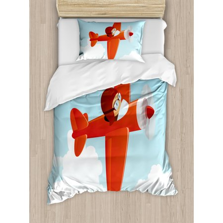 Kids Decor Twin Size Duvet Cover Set Cute Airplane Flying In Cloudy Cool Cute Kids Bedrooms Model Decoration