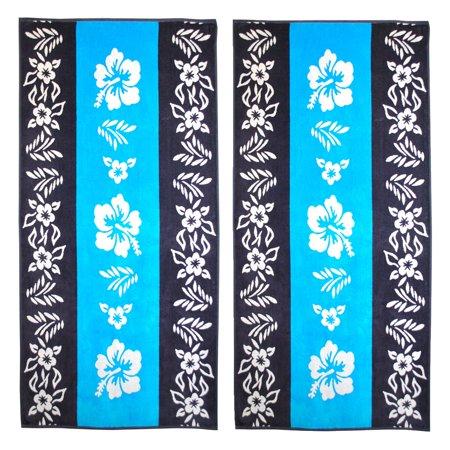 Superior  Oversize Jacquard Cotton Beach Towels   Hibiscus Blue  Set Of 2