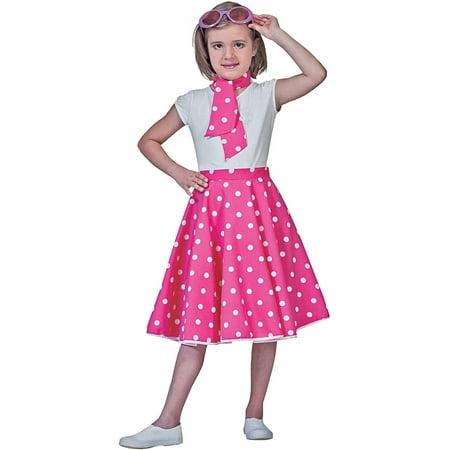 Pink Sock Hop Skirt Child Girl Halloween Costume (Sock Monkey Costume For Girls)