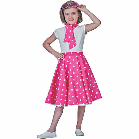 Pink Sock Hop Skirt Child Girl Halloween Costume