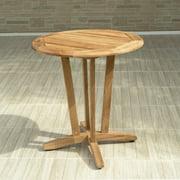 Amazonia Preston Teak Wood Round Outdoor Bistro Table, Light Brown