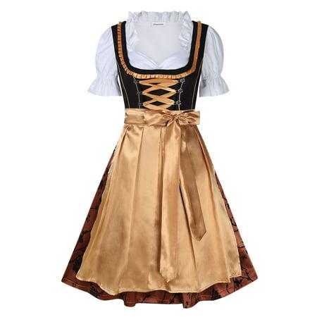 Traditional Oktoberfest Colors (Classic Midi Dirndl Dress Women Traditional Bavarian Oktoberfest Wear Color:Gold)