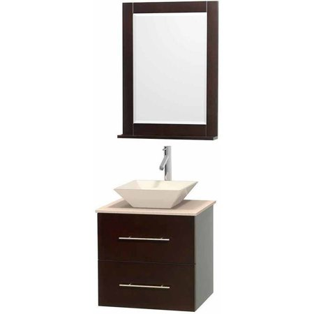 "Wyndham Collection Centra 24"" Single Bathroom Vanity in Espresso, Ivory Marble Countertop, Pyra Bone Porcelain Sink and 24"" Mirror"