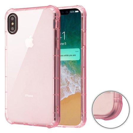 Air Sacs Transparent Anti-Shock TPU Case for iPhone XS Max - Pink