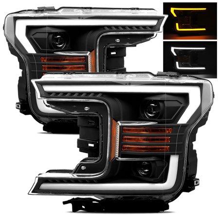 AlphaRex Black 18-20 Ford F150 Halogen Type Black Switchback DRL/Signal LED Tube Dual Projector Headlights Dual Projector Headlights
