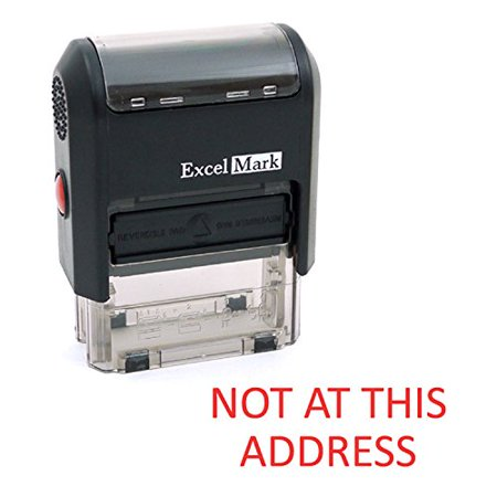NOT AT THIS ADDRESS Self Inking Rubber Stamp - Red Ink (ExcelMark A1539)