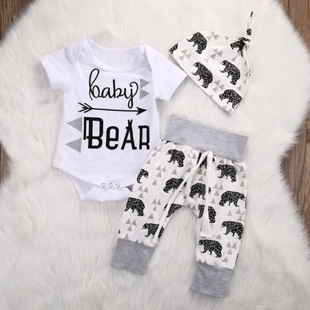 Newborn Girls Boy Baby Bear Romper Jumpsuit Pants Hat 3pcs Outfits Set Costume](Koala Bear Outfit)