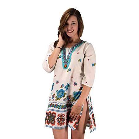 a09a1e83766 Peach Couture 100% Cotton Bohemian Floral Summer Tunics Beach Cover Ups  Turquoise Small/Medium ...