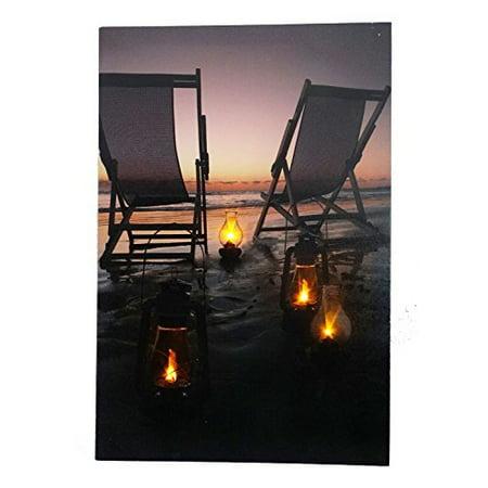 Beach Scene At Night Light up Canvas Print with LED - Emoji Beach Scene