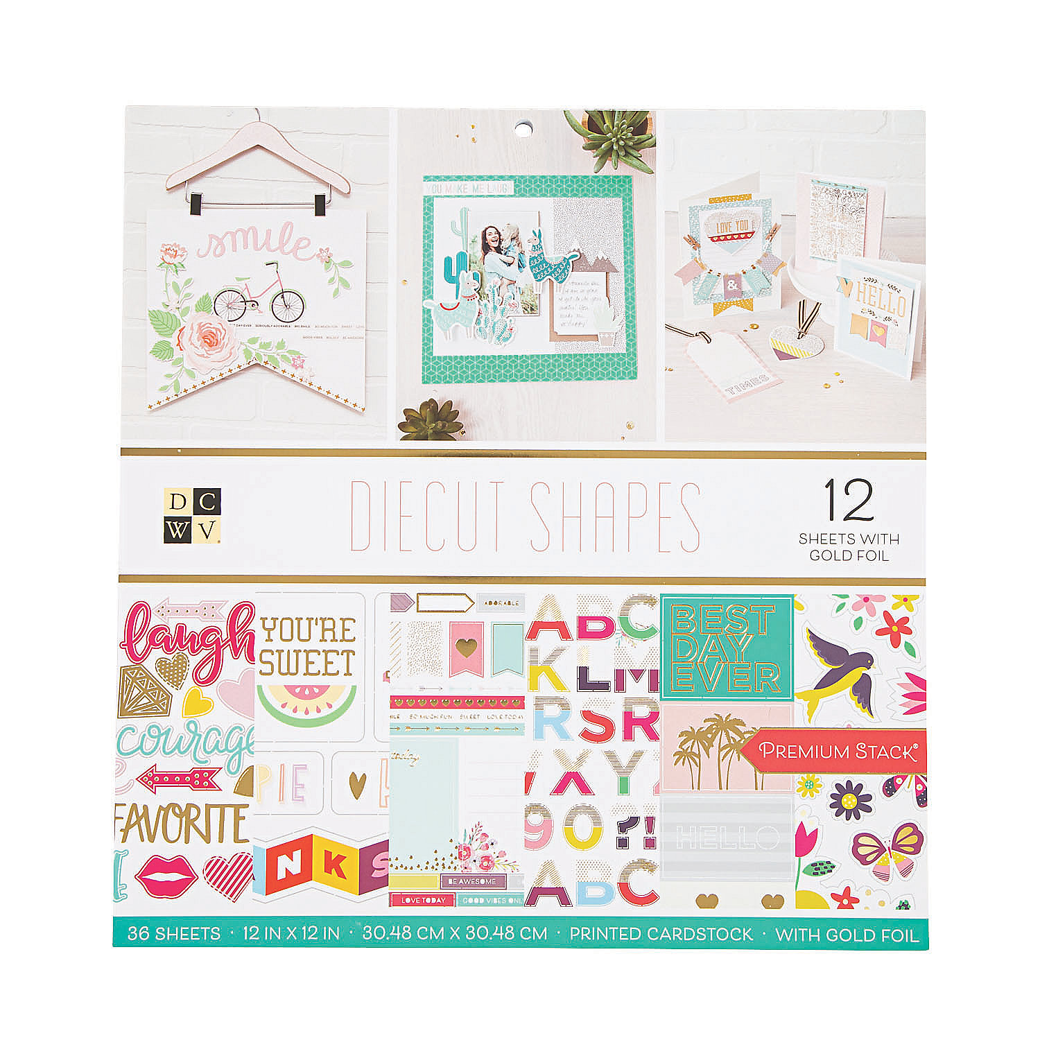 IN-13902035 American Crafts Die Cuts with a View Shapes Paper Stack