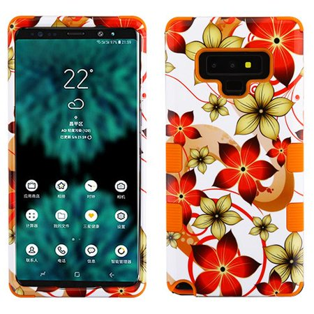 - Samsung Galaxy Note 9 Case Tuff Hybrid Shockproof Impact Rubber Dual Layer Hard Soft Protective Hard Case Cover Hibiscus Flowers Orange Phone Case for Samsung Galaxy Note 9