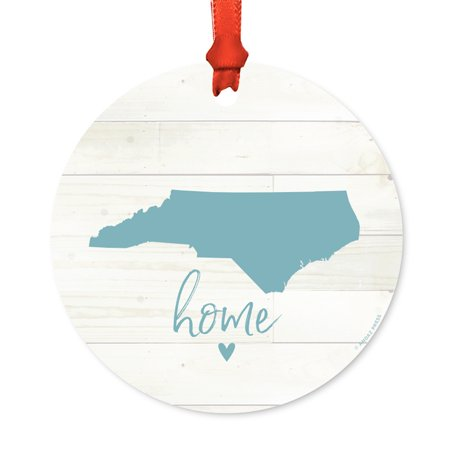 US State Round Metal Christmas Ornament, Rustic Light Wood Print, North Carolina Home, Includes Ribbon and Gift Bag