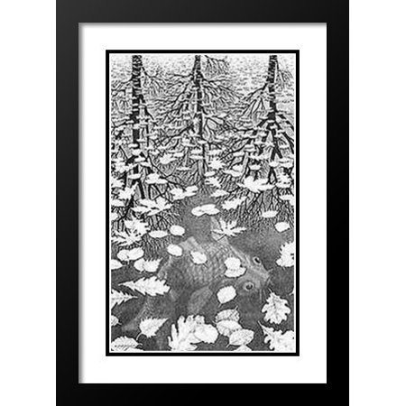 FrameToWall - Three Worlds 20x23 Framed and Double Matted Art Print by M.C. Escher (Double Matted Print)