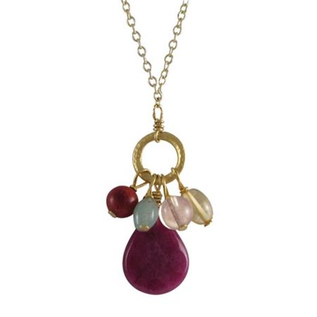 Gemstone Donuts - Ruby Semi Precious Stones Gold Plated Brass Donut Ring Necklace, 16 x 2 in.