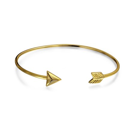 Cupids Arrow Tips Bangle Cuff Bracelet For Women For Teen Polished 14K Gold Plated 925 Sterling Silver