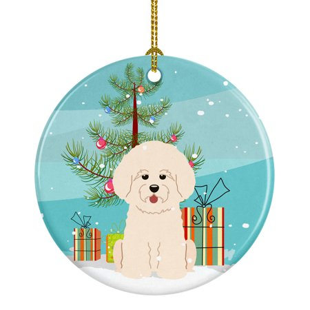 Merry Christmas Tree Bichon Frise Ceramic Ornament