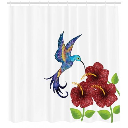 Hummingbird Shower Curtain A In Flower Garden Fantasy Tails Wings Imaginative Artwork Fabric Bathroom Set With Hooks Burgundy Green