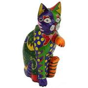 Stoneage Arts Handmade Multicolor Clay Handshake Cat Statue (Indonesia)
