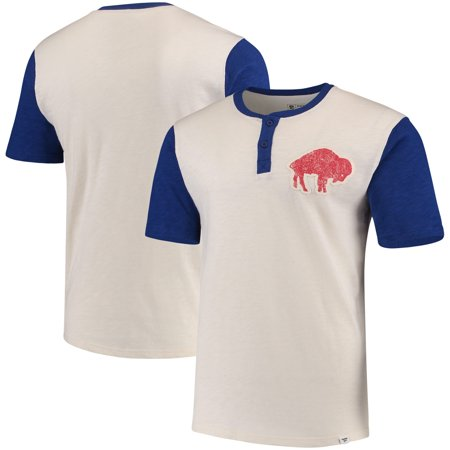 Buffalo Bills NFL Pro Line by Fanatics Branded True Classics Throwback Henley T-Shirt - Cream/Royal - Throwback Clothes Ideas