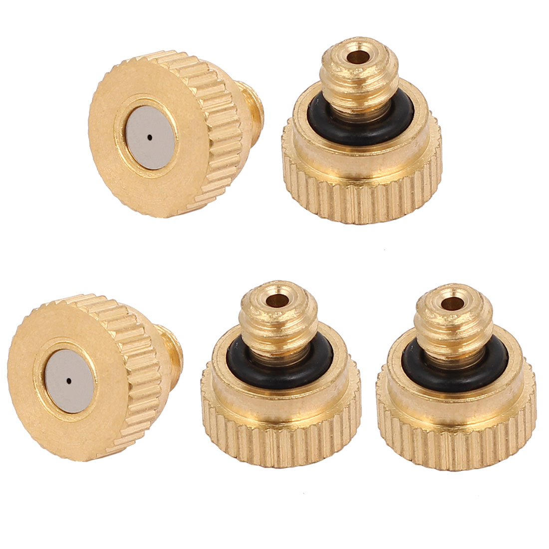 0.4mm Orifice Dia 9mm Long Brass Mist Nozzle Gold Tone 5pcs