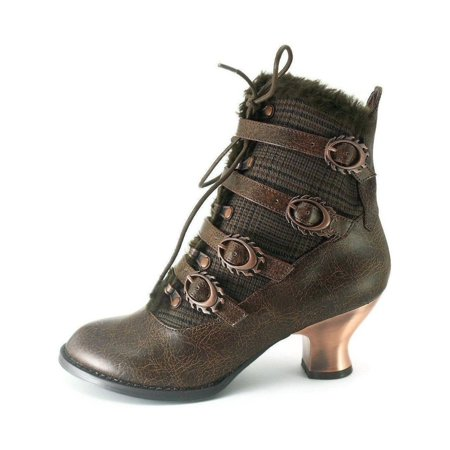 Hades Shoes H-Nephele Victorian ankle boots with inner tuxedo fabric 10 / Brown (Brown Ankle Boots)
