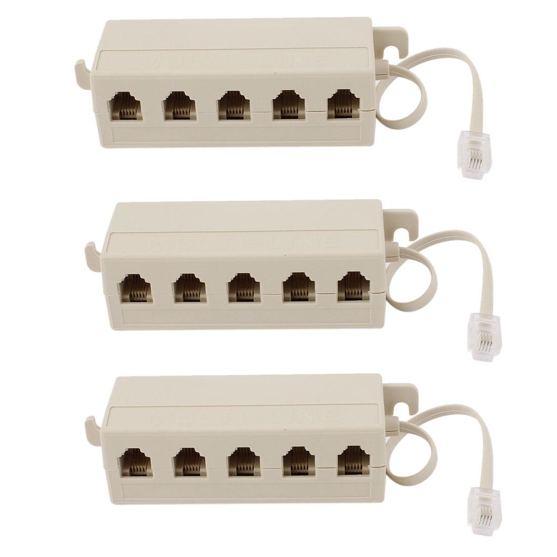 Unique Bargains 3pcs 5 Way Outlet 6P4C RJ11 Telephone Phone Modular Jack Line Splitter Adapter