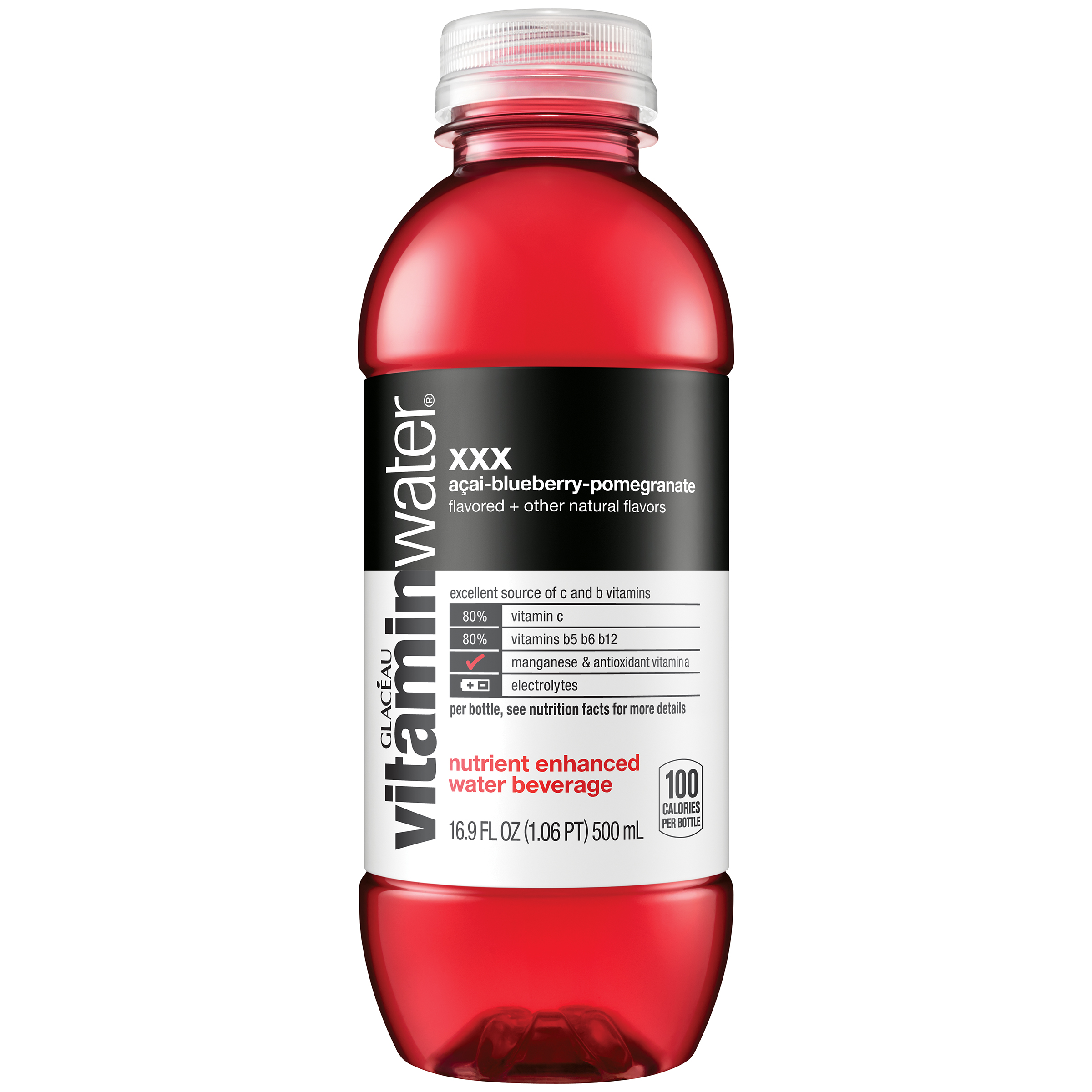 (24 Bottles) Vitaminwater, XXX, 16.9 Fl Oz, 6 Count