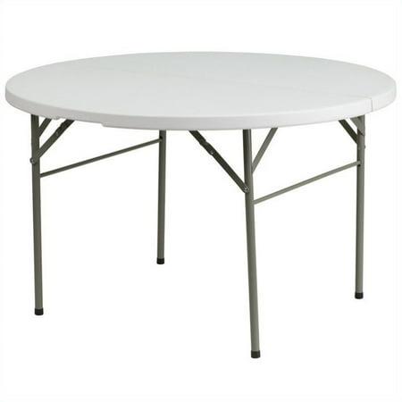 Flash Furniture 60 5  Round Bi Fold Granite Folding Table In White