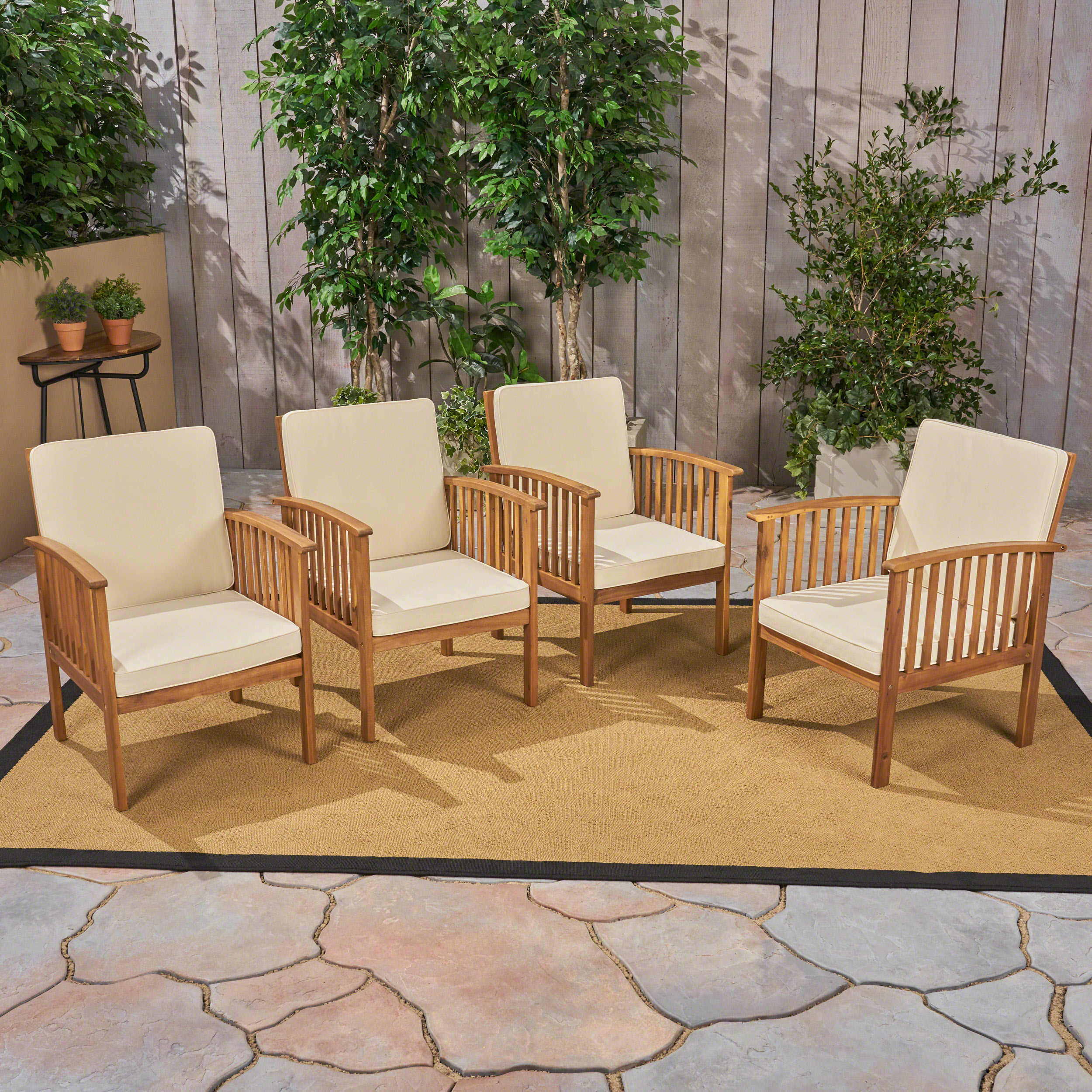 Frederic Outdoor Acacia Wood Club Chairs With Cushions, Set of 4, Brown Patina, Dark Teal