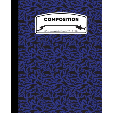 Composition : Sharks Blue Marble Composition Notebook Wide Ruled 7.5 X 9.25 In, 100 Pages Book for Boys, Kids, School, Students and (10 Classroom Rules For High School Students)