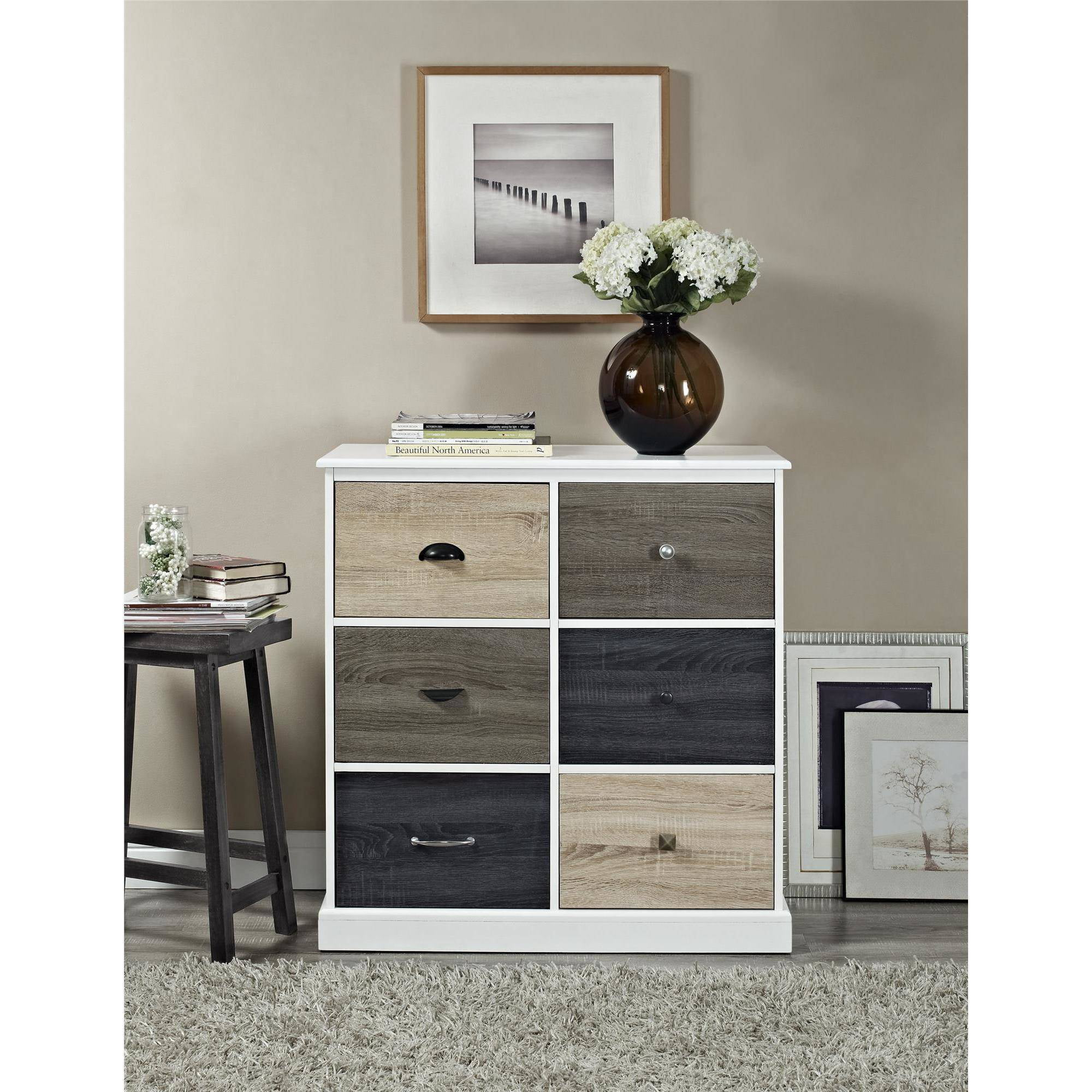 Ameriwood Home Mercer 6 Door Storage Cabinet With Multicolored Fronts White