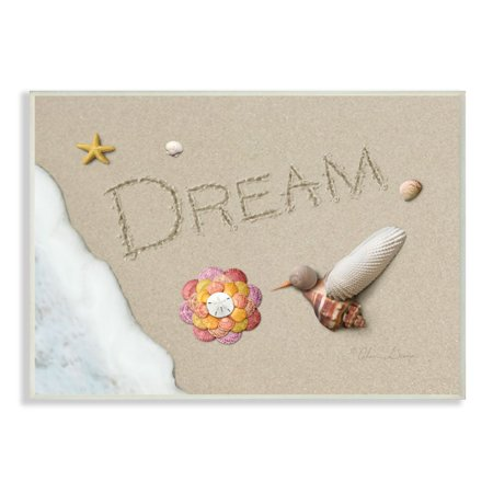 The Stupell Home Decor Collection Dream Written In Sand With Starfish Sand Dollar and Seashell Hummingbird Wall Plaque Art